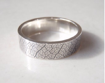 Silver Leaf Ring Men's Wedding Band Nature Ring Outdoor Mans Ring - Silver (925)