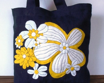 Handmade blue jute tote bag,Tropical,Shoppers market tote bag Eco friendly ,vacations, all to carry/ applique embroidery,Maui