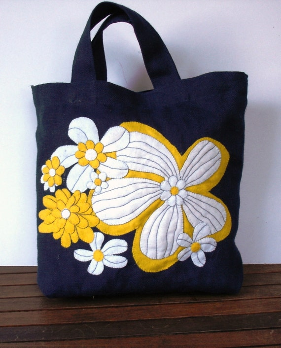 Blue jute tote bag, hand applique with yellow/white tropical flowers,Shoppers market tote bag , unique, handmade, vacations at Maui