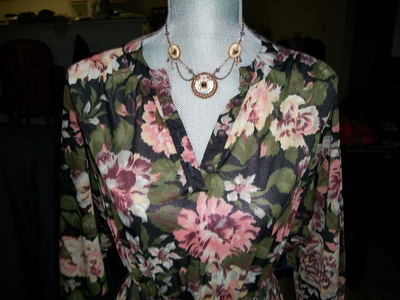CLEARANCE Sheer Floral Bell Sleeve Boho Hippie Vintage Groovy Retro Psychedelic Dress Sz 6/7