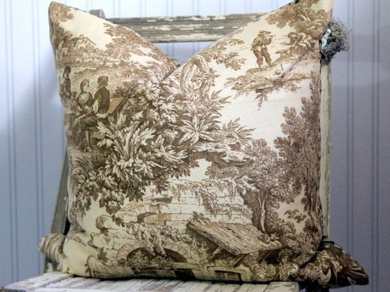 Fall Thanksgiving Decorative Pillow Cover Brown Toile reversible Brown Check 20 x 20
