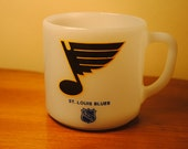 Federal Glass Co. Milk Glass NHL St. Louis Blues Coffee Mug