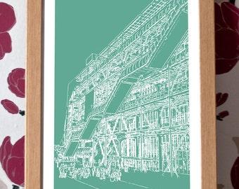 Pompidou Centre Poster – Paris Icons Custom Colour A3 Travel Print