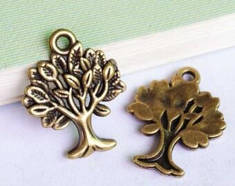 Tree Charms -25pcs Antique Bronze old tree Charm Pendants 17x22mm D507-3
