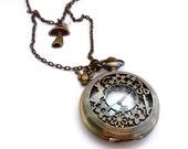 Eat Me Clock Necklace, Alice In Wonderland Jewelry, Alice Teapot, White Rabbit Pocket Watch