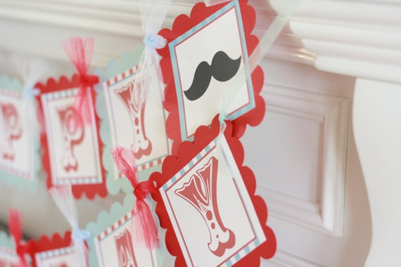 Happy Birthday or Mustache Bash Vintage Red Blue Mustache Barber Shop Theme Banner -  Ask About Our Party Pack Sale - Free Ship Over 65.00