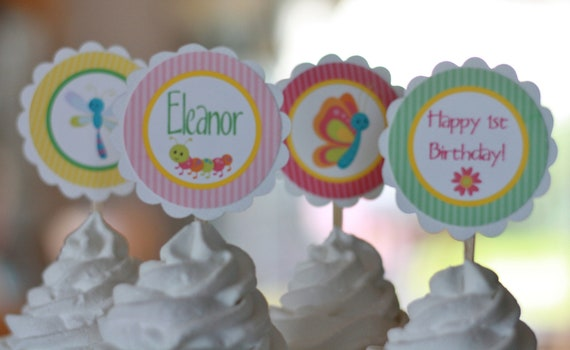 12 - Girl Butterfly Dragonfly Bug Pastel Green Pink Theme Birthday Cupcake Toppers - Ask About our Party Pack Sale - Free Ship Over 65.00