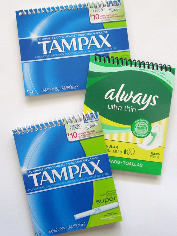 TAMPAX Tampons Notebook Set of 3 Feminine Hygeine Journal Spiral bound  Blue Green and White - Upcycled Box