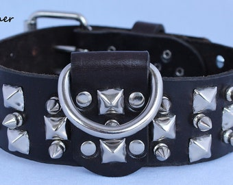 2 Inch Leather Dog Collar with Spikes and Pyramid Studs