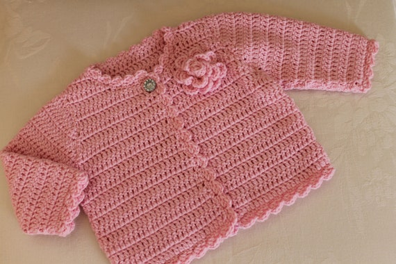 Crochet Baby Girls Cardigan with Flower to fit Newborn and 3M in custom colour Made to order