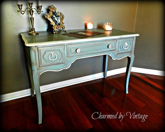 Shabby French Paris Blue Desk (Reserved and SOLD to KIM)