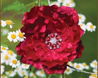 Flower Hair Clip  - Peony   Smaller Deep Red