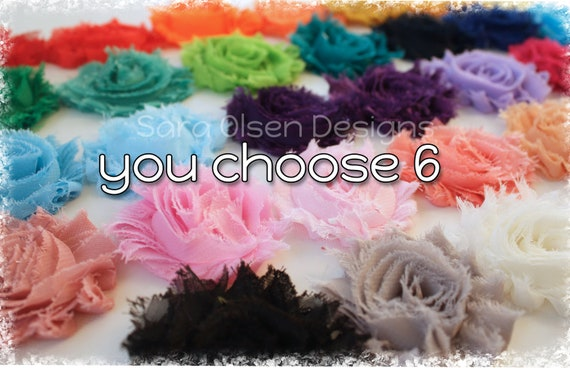Frayed Chiffon Rosettes Hair Clips, You Choose 6, Shabby Chic Flower Rosette Hairclip, Clippies, Over 30 Colors, Red Silver White Pink