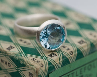 Blue Topaz Ring - Large Blue Topaz Ring - Sky Blue Topaz Set in Sterling Silver - Blue Topaz Halo Ring Ring - Made to Order - FREE SHIPPING