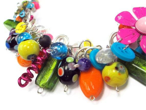 Colorful Statement Necklace Crazy Bright Multi Fringe Bib Silver Wire Art