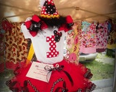 3 Piece Minnie Mouse Red Dot Mickey Disney Girl Boutique Birthday Outfit/ Halloween Costume Tutu Shirt Hat Pink Dots First
