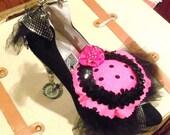 Black High Heel Bling Pin Cushion