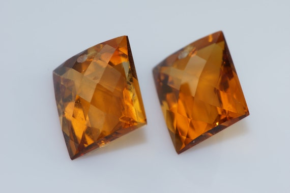 golden brown citrine one pairs drilled 13x14mm