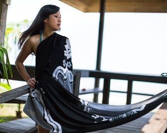 Black sarong floral elegant beach wear, extra large long scarf, shawl, pareo, wrap, stole. Hand painted dyed batik flowers, silk and cotton
