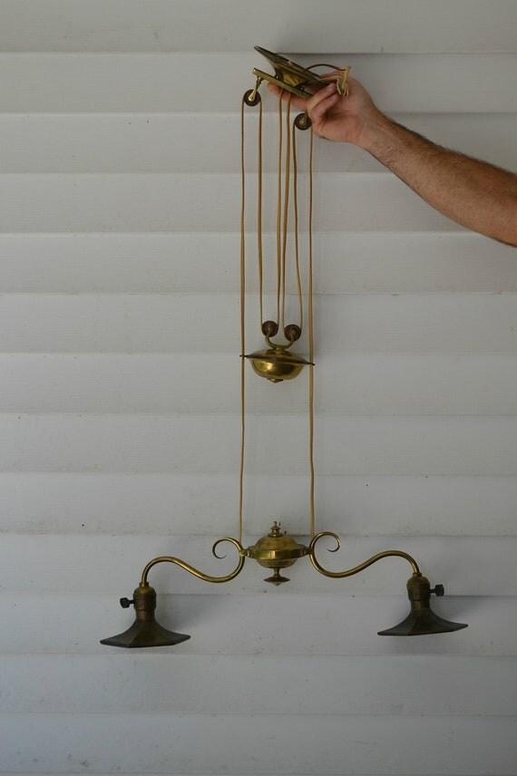 Vintage Adjustable Pulley Ceiling Light Brass