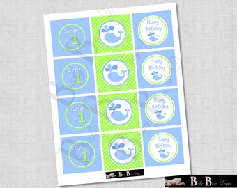 Whale Birthday Party Tags/Cupcake Toppers/Stickers (Blue & Green)- Printable