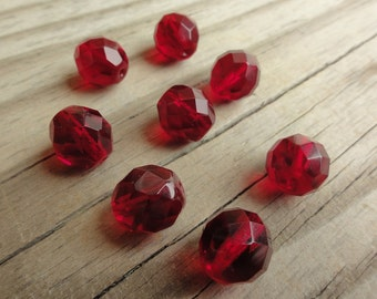 Garnet Red Faceted Firepolished Czech Glass 12mm Beads Round - Qty 8