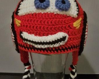 Crocheted Lightning Mcqueen Beanie (from CARS)