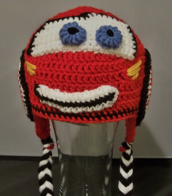 Crocheted Lightning Mcqueen Beanie (from CARS)
