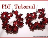 Flamenco style red and black beaded earrings beading pattern tutorial PDF