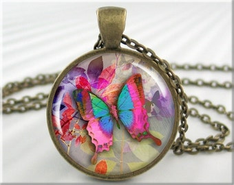 Pink Butterfly Necklace Butterfly Art Jewelry Picture Pendant Charm (406RB)
