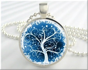 Tree Of Life Jewelry Pendant Resin Pendant Winter Snow Tree Art Necklace (408RS)