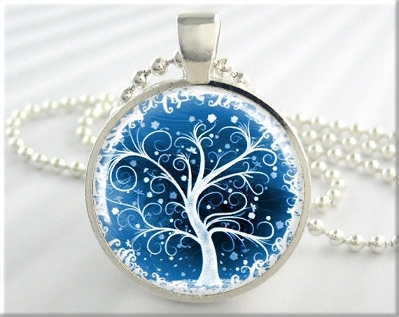 Tree of life pendant winter snow jewelry resin necklace art for What is the meaning of the tree of life jewelry