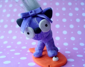 Purple Marble Kitty Cat on a Goldfish Polymer Clay Kitten Figure Figurine Ooak Cat Lover Cute Gift Mohawk Bow Animal Pet