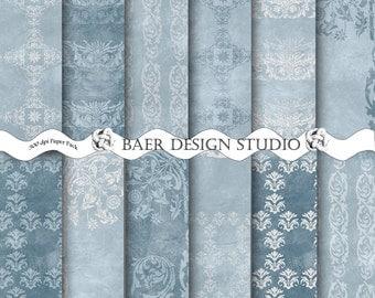 50% off:Digital Paper Vintage, Indigo Blue Digital Paper, BLUE and SILVER Digital Paper, Blue Digital Paper, Blue Textured Digital Paper