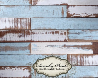 NEW ITEM 5ft x 5ft Vinyl Photography Backdrop WOOD Floordrop / Blue White Painted Scuffed Wood
