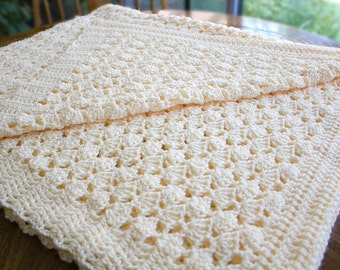 Crochet Afghan Blanket Throw Cream Creme Beige Golden Butter Peach Color Shell Pattern Unique Soft Warm Award Winning 'Creme De La Creme'