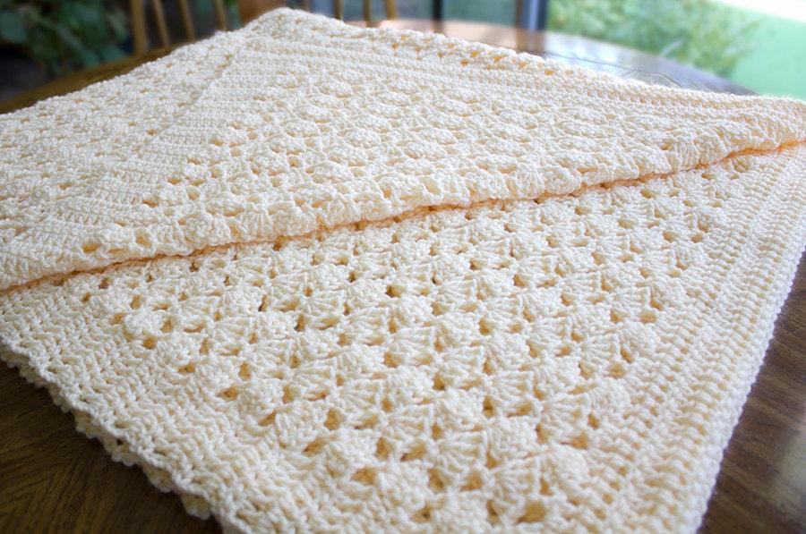 Crochet Afghan Blanket Throw Cream Creme Beige Color Shell