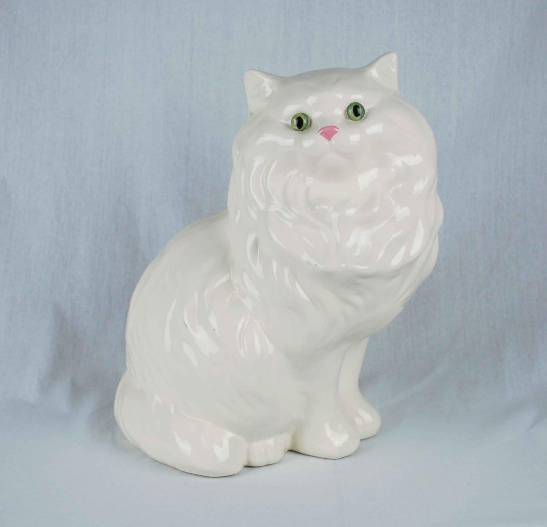 Vintage White Persian Cat Figurine Large Lifelike Porcelain