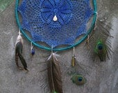 mni. handmade vintage lace doily dream catcher in deep periwinkle and teal.