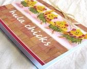 Hula Dancing Chickens Hawaiian Greeting Card or Thank You Card, Blank Inside 5x7