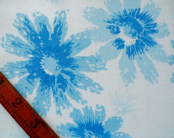 Vintage Fabric Piece, Blue Floral Print, Sewing Supplies