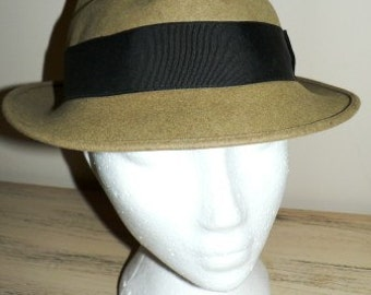 vintage hats  ... Men Camel Brown BANDED Fur felt GATSBY HAT lovely Vintage ...