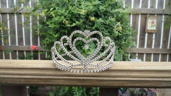 Vintage Rhinestone Tiara  Adult Tiara  Old Silver and Rhinestone Tiara  Princess Pageantry Crown Vintage Crown
