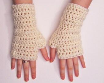 Fingerless Gloves White Chunky Crochet Mittens