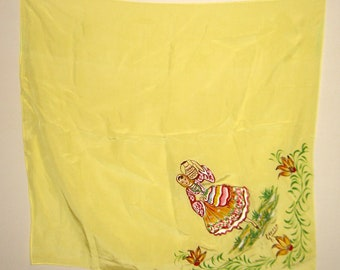 Hand painted yellow scarf.