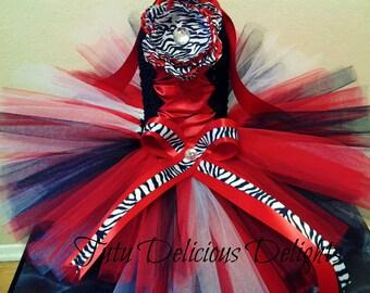 Zebra Red Black and White Tutu Dress, Pageant tutus, Kids Birthday Tutus, Zebra tutu