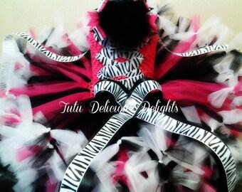 Hot Pink and Black Petti Tutu Dress, Zebra Tutu Dress, Zebra Party, Kids Birthday Tutus, Kids Photo Props, Pageant Tutus