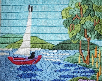 Vintage Hand Sewn Crewel Blue Silk  Sailboat Scene done  with an elegant Satin Stitch Design in A Nautical Sailboat Theme in Great Shape