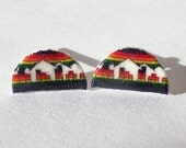 Denver Nuggets Earrings - Denver skyline rainbow NBA Plastic logo studs
