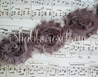 1/2 Yard Taupe Chiffon Flower Shabby Rose Trim